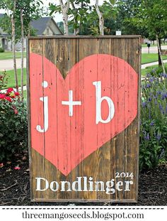 Wedding Guestbook wood sign with heart by mangoseedmarketplace