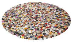 KARE Design Teppich Circle Multi 250 in Kreisform, stylischen Farben und aus Echtleder, Kuhfell und einer Rückseite aus Wildleder. Erhältlich in verschiedenen Größen. #KARE #KAREDesign