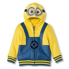 Despicable Me Infant Toddler Boys' Minion Zip Up Hoodie - Yellow