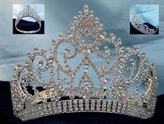 Beauty Pageant Silver contoured rhinestone adjustable crown tiara - CrownDesigners