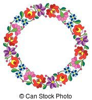 Kalocsai embroidery in circle - Vector background -...