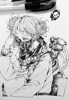 Boku no Hero Academia Anime Drawings Sketches, Anime Sketch, Manga Drawing, Manga Art, Anime Art, Character Drawing, Character Design, Himiko Toga, Art Reference Poses
