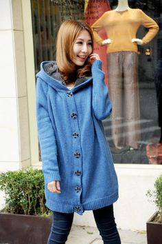 Single-breasted Hooded Fleece Inside Casual Loose Longline Knitted Cotton Sweater Jacket One Size