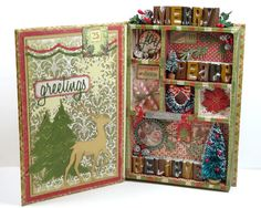 Annette's Creative Journey Tim Holtz mini configurations book with Yuletide paper