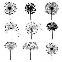Set of doodle dandelions. Decorative Elements for design, dandelions flowers blooming. Dandelion Drawing, Dandelion Flower, Dandelion Coffee, Doodle Drawings, Doodle Art, Floral Retro, Bullet Journal Art, Flower Doodles, Art Sketches