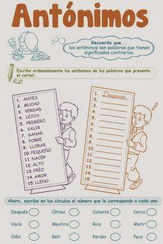 ant_nimos_1_Primaria Spanish Worksheets, Spanish Teaching Resources, Spanish Activities, Spanish Lessons, Learning Activities, Learn Spanish, Spanish Grammar, Spanish Language Learning, Spanish Teacher