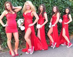 Big Fat Gypsy bridesmaids: Miss McFadyen chose a red theme for her maids - with four out of the five girls wearing Converse sneakers with th...