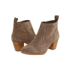 Khaki Chunky Heels Ankle Boots ($132) ❤ liked on Polyvore