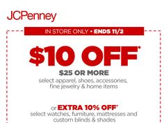 JCPenney $$ Coupon to Save $10/$25 Purchase!