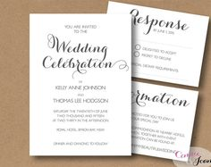 Printable Wedding Invitation Suite | Invitation RSVP and Info Template | Editable Word .doc template