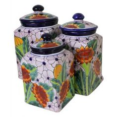 The wonderfully intricate floral patterns of these classically styled Talavera kitchen canisters will complement any kitchen decor!  The ceramic of these Talavera canisters is hand-painted in Dolores Hidalgo, Mexico, and embodies all the charm of Mexican Talavera.  The Talavera canister lids sit inside of the base for a secure fit.  Each pattern is also available in a 'Set of Three' below at a reduced cost; so be sure to purchase enough canisters for all of your kitchen baking goods and…