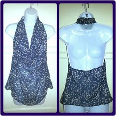 """Navy Print Chiffon Halter Top Navy/white, cheetah print, chiffon, cowl neck halter top. Very light & flowy.  Semi - sheer.  • Max of 48 hr hold • 15% off discounts on bundles of 3 items or more!  • NO SWAPS/TRADES • Will ship next business day after purchase, EXCEPT on Sundays. • Please ask any ???'s or for more pics.  • Offers will only be considered when using """"Make Offer""""! Tops"""