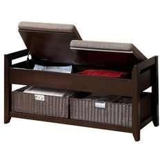 """Found it at Wayfair - Upholstered Entryway Bench in Espresso, by Hokku Designs (21"""" H x 42"""" W x 16"""" D)"""