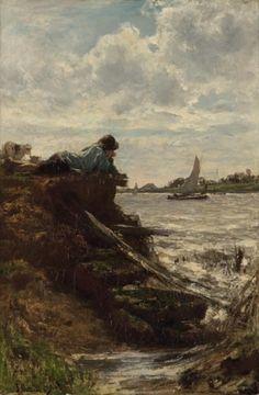 Jacob Maris - Herdersjongen aan rivier Frankrijk (1868)