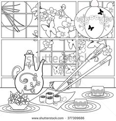 Background with sushi and flowers. Pattern for menu, wallpaper, pattern fills, coloring books for kids and adults. Black and white  - stock photo
