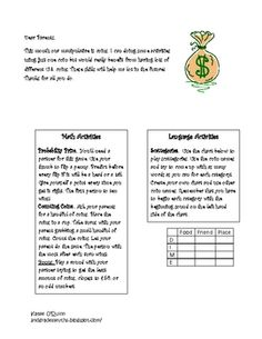 """Here's a series of monthly letters for parents that highlight a manipulative and a math and literacy activity. Each letter begins """"Dear Parents,  Here are some activities that I can use this month to help me get better at reading and math. The manipulative for this month is __."""""""