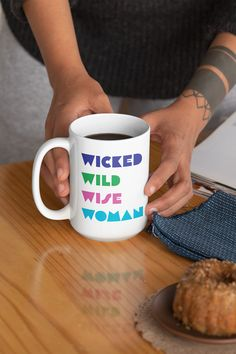 $11.99 Wicked Wild Wise Woman is an empowering mug for women. The perfect mug gift idea. Get this beautiful mug to feel inspired and motivated every day or give it as the perfect gift to a friend, and show how much you care about her. Choose your favorite color, and buy it now to place your order. Take advantage of our policy - 30 Days Satisfaction Guarantee + Worldwide Shipping.  #mugs #mug #teacup #feminist #cuppa #empowering #women #womens #mugforwomen #feministmug #muggiftidea Girl Tribe, Wise Women, Other Woman, Teacup, Favorite Color, Wicked, Motivation, Mugs, Inspired