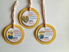 Despicable Me Minions Custom Birthday Party Thank you Gift