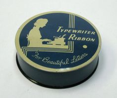 """Vintage Wonder Wear Typewriter Ribbon Tin """"For Beautiful Letters"""" Blue and Off White by CanemahStudios on Etsy"""