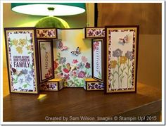 Large Square Double Display Card. Made by Sam Wilson using Painted Petals and the card tutorial on The Craft Spa blog.