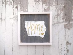 State with gold home rustic wood sign by katieruebel on Etsy