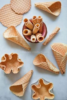 3 Ways to Make and Eat Waffle Cones - Ella Claire Waffle Cone Recipe, Waffle Bowl, Waffle Cones, Ice Cream Desserts, Frozen Desserts, Ice Cream Recipes, Frozen Treats, Ice Cream Business, Homemade Ice Cream