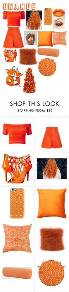 """""""By:Anne😆Theme:Orange🤓😚"""" by anneamiejole ❤ liked on Polyvore featuring Miss Selfridge, Delpozo, Sam Edelman, Casetify, Pillow Decor, Bandhini Homewear Design, Moe's Home Collection, Aqua, Improvements and WALL"""
