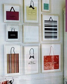Framed shopping bags as art. If only my closet were big enough.