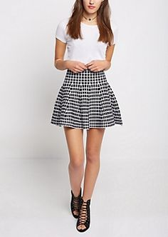 Black Windowpane Knit Skater Skirt