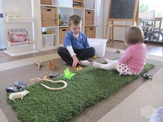 astroturf for inside play when it's cold. so clever! // a little delightful