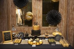 Black & Gold 30th Dessert Table by Aimee Dunne Events & Weddings. Photography by Abi Chadwick. The Sweet Hostess Gold Sequin Table Runner.