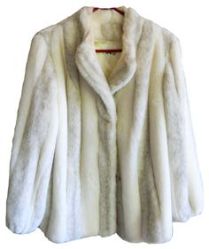 vintage womens mens Central Park Zoo New York white an cream fur jacket coat union made in usa medium large fully lined cream silk gorgeous by VELVETMETALVINTAGE on Etsy