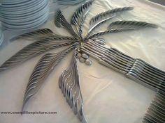 Palm tree made of silverware