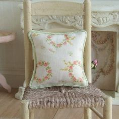Dollhouse Miniature, Cottage Floral Cushion, Dolls House Pillow, Green Piping, Home Decor, Shabby Cottage Chic, 1:12th Scale