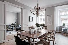 Hemnetgodis Prinsgatan 6 A Apartment Interior, Kitchen Interior, Home Interior Design, Interior Decorating, Modern Dining Room Tables, Dining Area, Gravity Home, Scandinavian Living, Elegant Homes