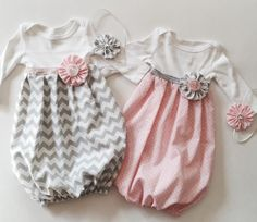 Baby girl GOWN.. with headband.. in Polka dots OR Grey chevron..girls clothing