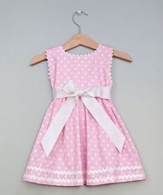 Princess Linens Pink Polka Dot Sash Personalized Dress - Infant, Toddler & Girls | zulily