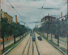 Jerzy Nowosielski, Pejzaż łódzki, 1951 Art Frames, Framed Wall Art, Street View, Polish, Paintings, Art, Places, Paint, Vitreous Enamel