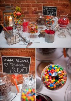 wedding candy bar ideas #candybar #desserttable #weddingchicks http://www.weddingchicks.com/2013/12/18/colorado-wedding/
