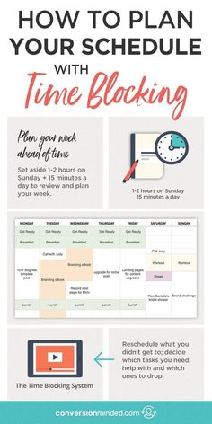How to Plan Your Schedule with Time Blocking (Plus a Video Tutorial!) This post includes time management tips plus a time blocking template and step by step planner on how to use time blocking to plan your schedule and increase productivity. Click through The Plan, How To Plan, Time Management Strategies, Time Management Skills, Time Management Planner, Time Management Quotes, Best Time Management Apps, Time Management For Students, Time Management Worksheet