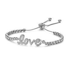 Zilveren armband Love zirconium