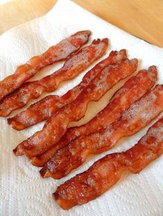 Perfectly Crisp Baked Bacon by Carrie Robinson /start in cold oven, use foil , 425 for 18 to 25