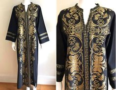 5784f30b4 VTG 70's BOHO Black Handwoven Linen Gold Metallic Threads Ethnic Greek  Festival Hippie Caftan Maxi Dress OS