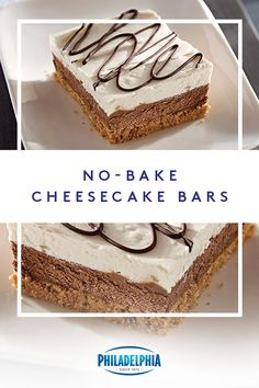 Discover No-Bake Cheesecake Bars. The ease of the No-Bake Cheesecake Bars drew you in; the chocolate, graham and creamy layers will keep you coming back. Low Carb Desserts, No Bake Desserts, Easy Desserts, Delicious Desserts, Dessert Recipes, Cheesecake Bars, Cheesecake Recipes, Baking Recipes, Cookie Recipes