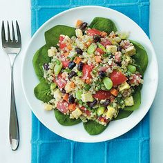 Black Bean-Quinoa Salad with Basil-Lemon Dressing | CookingLight.com. #dinnertonight