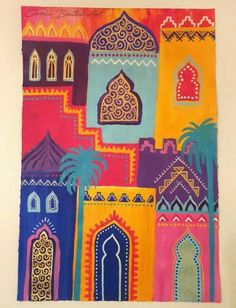30 days of painting challenge! Marrakech colours, abstract cityscape inspired by morocco. Mixed media art by Carolin Bentbib Art Marocain, Ramadan Decoration, Buch Design, Design Art, Middle Eastern Art, Moroccan Art, Arabic Art, Art Plastique, Islamic Art