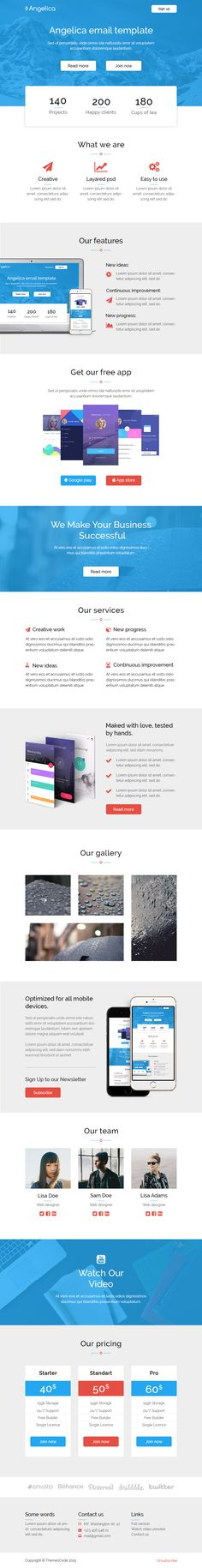 5 Email templates bundle + Builder by ThemesCode on @creativemarket
