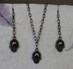"Skull Pendant w/ 18"" Necklace and Dangling Earrings Set - Gunmetal Finish"