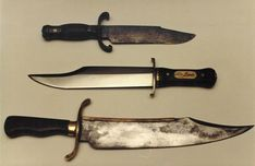"'Alamo"" Bowie Knives - the ""Bart Moore"" Bowie (top); the ""Iron Mistress"" - used by Alan Ladd in the 'Iron Mistress' and Richard Widmark in 'The Alamo' (middle) and the ""Musso"" bowie (bottom). Both the Bart Moore and Musso knives are alleged to possibly be Jim Bowie's actual knives captured by Mexican soldiers at the Alamo, March 6, 1836"