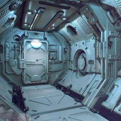 Quick scifi concept corridor I made in Modo to try out my new workflow a bit more. Spaceship Interior, Futuristic Interior, Futuristic Design, Futuristic Architecture, Hard Surface Modeling, Hacker Wallpaper, Sci Fi Ships, Science Fiction, Cyberpunk 2077